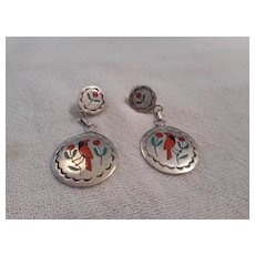 Zuni Inlay Sterling Silver Vintage Earrings