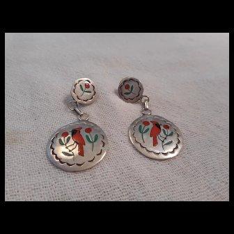 Zuni Inlay Sterling Silver Vintage Earrings
