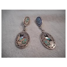 Zuni Sterling Silver & Hummingbird Inlay Earrings