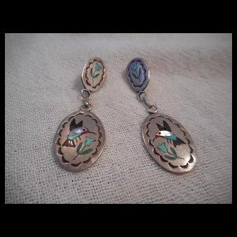 Zuni Sterling Silver & Hummingbird Inlay Earrings