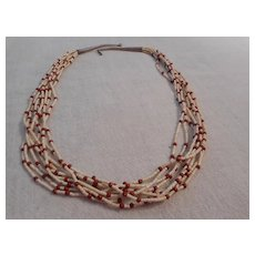 Santa Domingo Eight Strand Clam Shell Agate Necklace