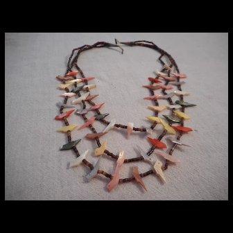 Zuni Three Strand Fetish Vintage Necklace