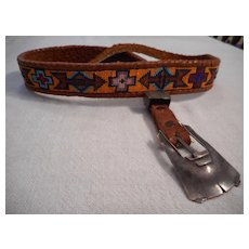 Sterling Silver Leather Beaded Vintage Belt