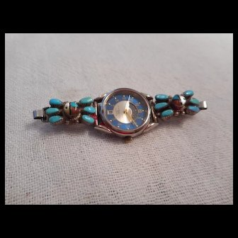Zuni Turquoise Coral Inlay Vintage Watch
