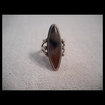 Sterling Silver Petrified Wood Vintage Ring