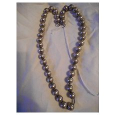 Sterling Silver Ball Beaded Vintage Necklace