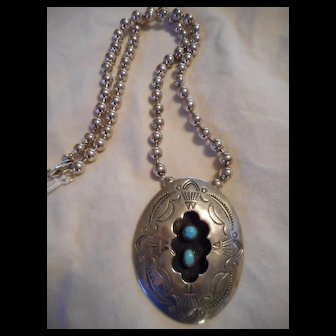 Sterling Silver Beaded Necklace With Shadow Box Pendant