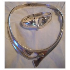 Sterling Silver Hinged Collar Necklace & Bracelet
