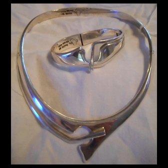 Sterling Silver Hinged Collar Necklace & Bracelet