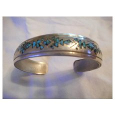 Sterling Silver Inlay Vintage Signed Bracelet