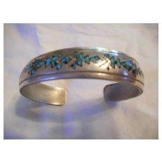 Sterling Silver Inlay Vintage Signed Bracelet
