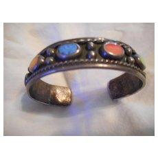 Sterling Silver Multi Stone Vintage Bracelet Cuff