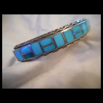Sterling Silver Channel Inlay Vintage Bracelet Cuff