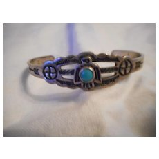 Sterling Silver Turquoise Fred Harvey Era Baby Bracelet
