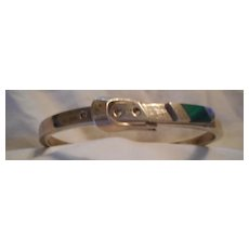 Sterling Silver Malachite Buckle Vintage Bracelet