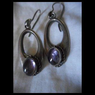Sterling Silver Amethyst Vintage Earrings