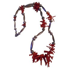 Sterling Silver Beaded Branch Coral Vintage Necklace