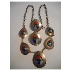 Sterling & Channel Inlay Vintage Necklace & Earrings