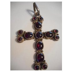Sterling Silver & Garnet Large Cross Pendant