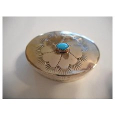 Sterling Silver Sleeping Beauty Turquoise Pill Box
