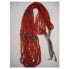 Sterling Silver Coral Eight Strand Vintage Necklace