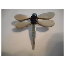 Sterling Silver Mother Of Pearl Vintage Dragonfly