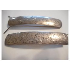 Sterling Silver Etched Hair Clips