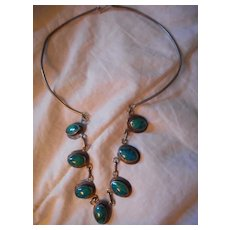 Sterling Silver Chrysocolla Vintage Necklace
