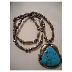 Sterling Silver Beaded Vintage Turquoise Pendant Necklace