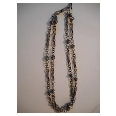 Sterling Silver Hand Made Beaded Link Necklace