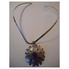 Sterling Silver Amethyst Star Pendant Necklace