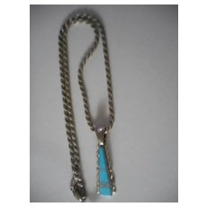 Sterling Silver Channel Inlay Turquoise Pendant Necklace