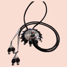 Zuni Sterling Inlay Sunface Bolo Tie