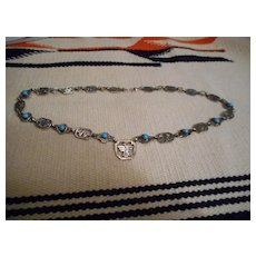 Sterling Silver Sleeping Beauty Turquoise Vintage Necklace