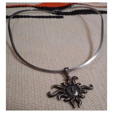 Sterling Silver Collar With Sun Pendant