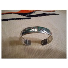 Sterling Silver Coral Turquoise Chip Inlay Navajo Bracelet