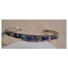 Sterling Silver & Multi Stone Vintage Bracelet