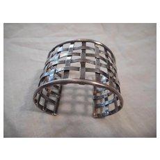 Sterling Silver Basket Weave Wide Bracelet