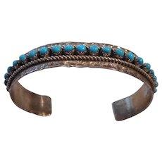 Zuni Sterling Silver Turquoise Stamped Vintage Bracelet
