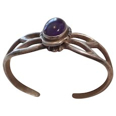 Navajo Sterling Silver Amethyst Sandcast Bracelet