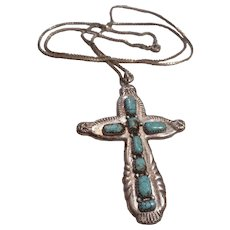 Zuni Sterling Silver Turquoise Vintage Cross Necklace