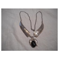 Sterling Silver Onyx Vintage Necklace With Hand Made Chain