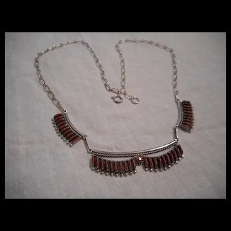 Zuni Coral and Sterling Silver Needle Point Vintage Necklace