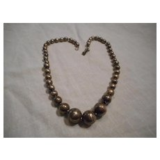 Sterling Silver Vintage Beaded Necklace