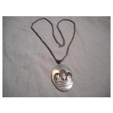 Navajo Sterling Silver Vintage Pendant Necklace