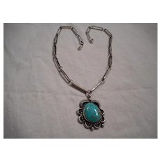 Hand Made Sterling Silver Necklace and Turquoise Pendant