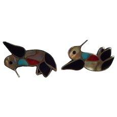 Zuni Sterling Silver Inlay Humming Bird Earrings