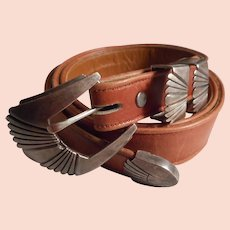 Navajo Sterling Ranger Set on Leather Belt