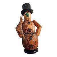 Wooden Snowman Vintage  Incense Smoker