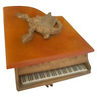 Musical Trinket Box Gold Gilt Piano With Bakelite